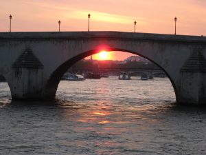 Sunset from the boat cruise on the Seine