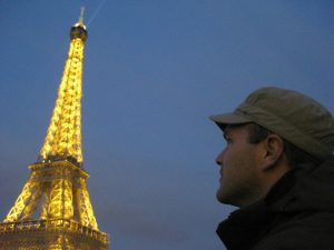 On the boat cruise, the Eiffel Tower looks impressive with a fancy light show: