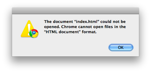 "Google Chrome (Mac) can't open ""HTML document"" format"