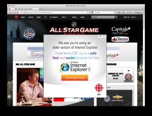 CBC.ca thinks Firefox 10 is old Internet Explorer