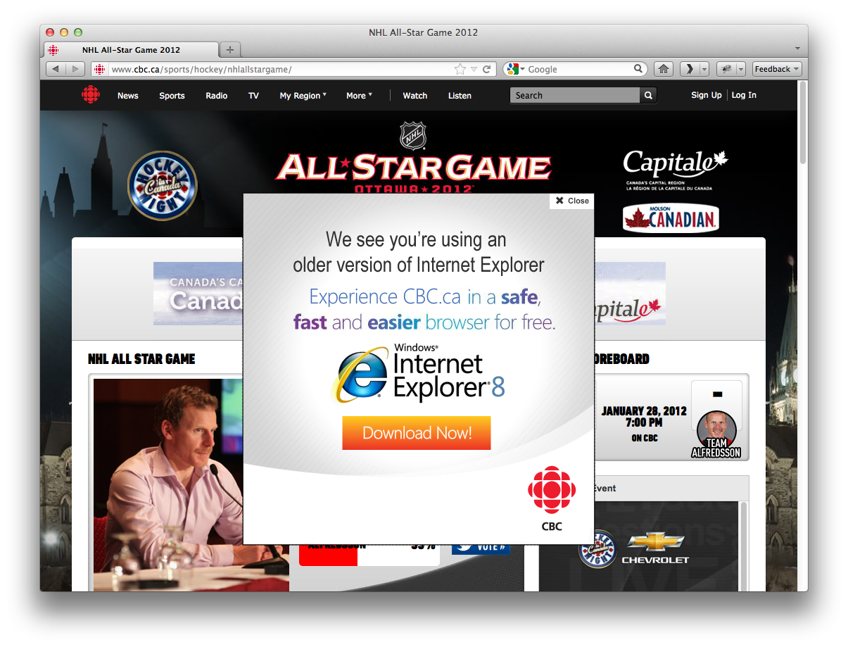 CBC.ca thinks Firefox 10 is old Internet Explorer