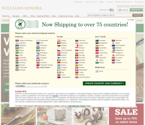 Williams Sonoma ships to 75 countries - but not Canada